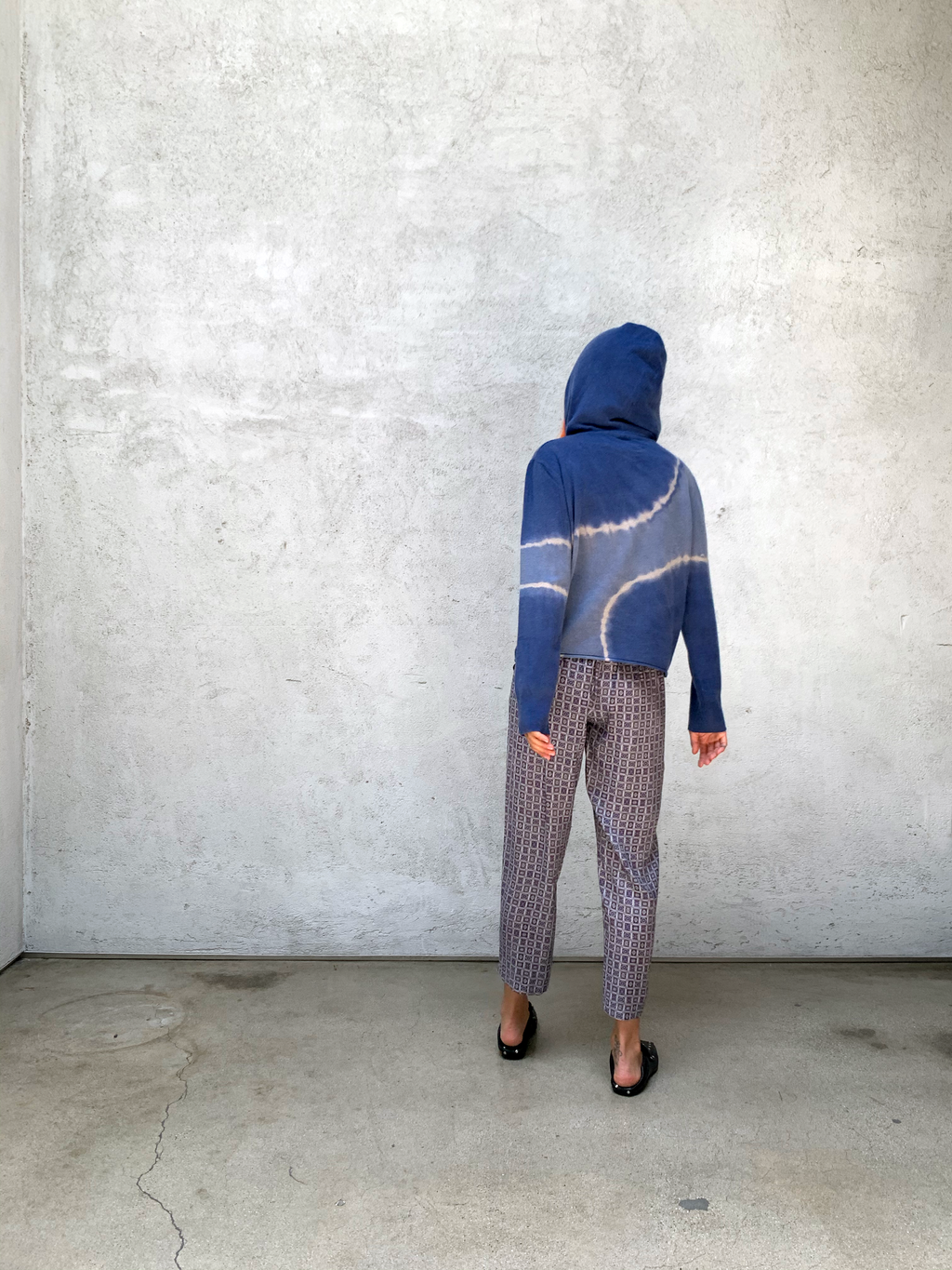 Blue Recycled Cashmere Crop Hoodie