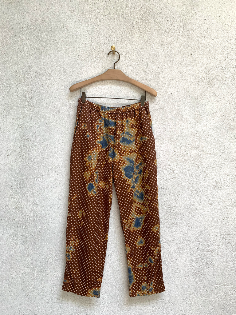 Brown Sand Satin Polka Dot Tie Dye Ankle Pant