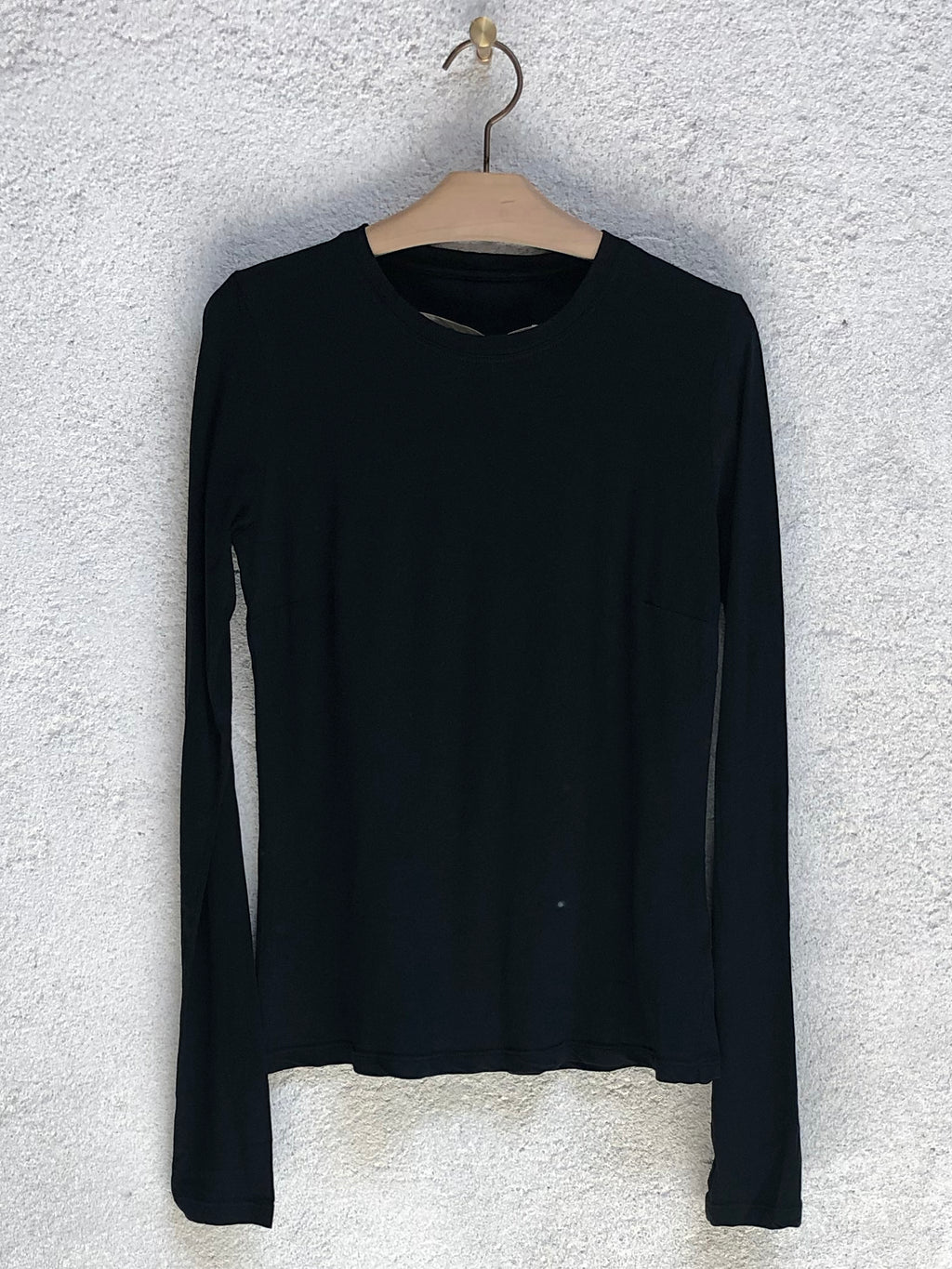 Black Jersey Fitted Long Sleeve Tee