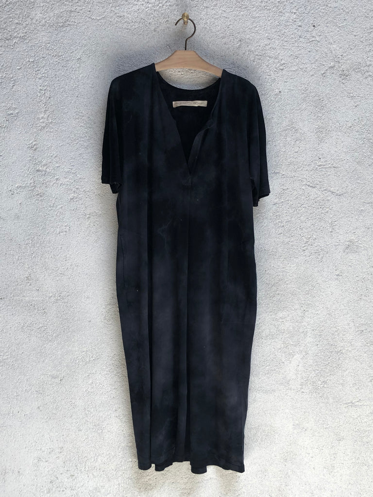 Black Jersey Henley Dress