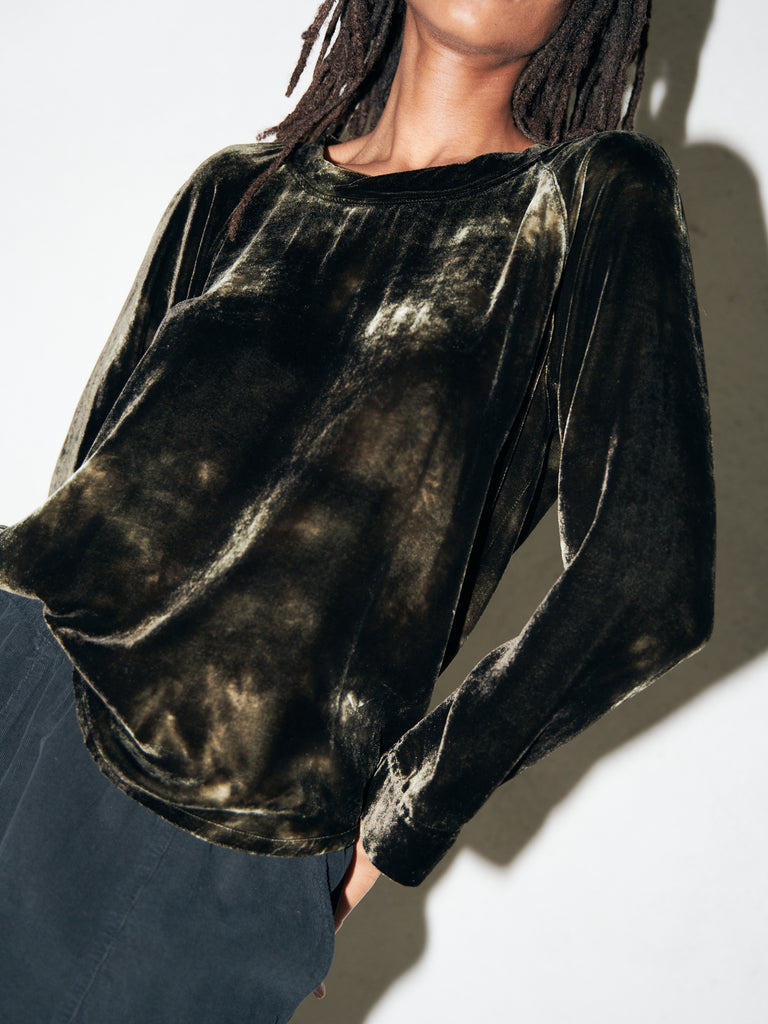 Moss Cloud Velvet Raglan Blouse
