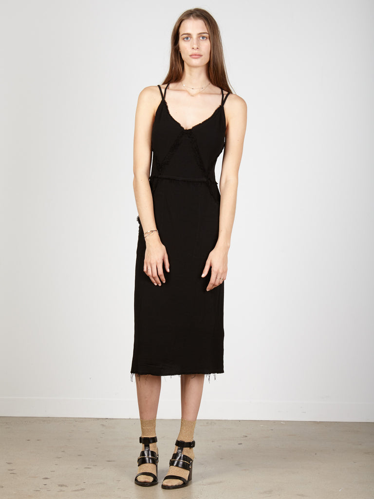 Black Crepe Diamond Slip Dress