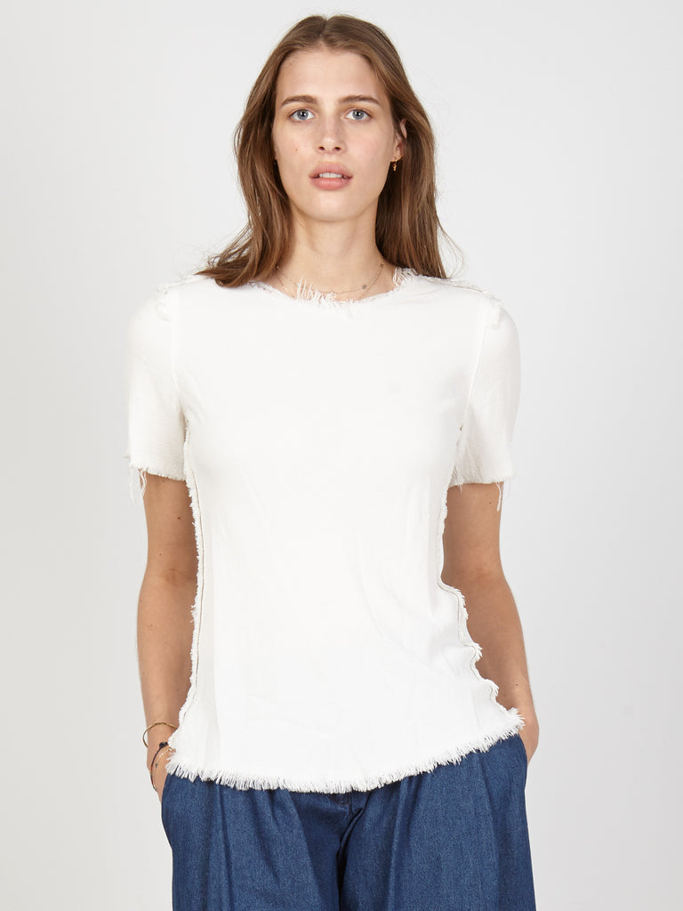 Dirty White Crepe Bias Tee