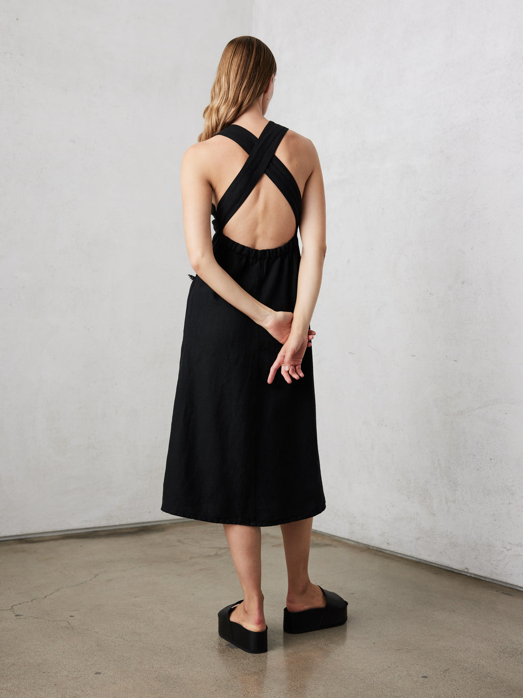 Black Herringbone Linen Apron Dress