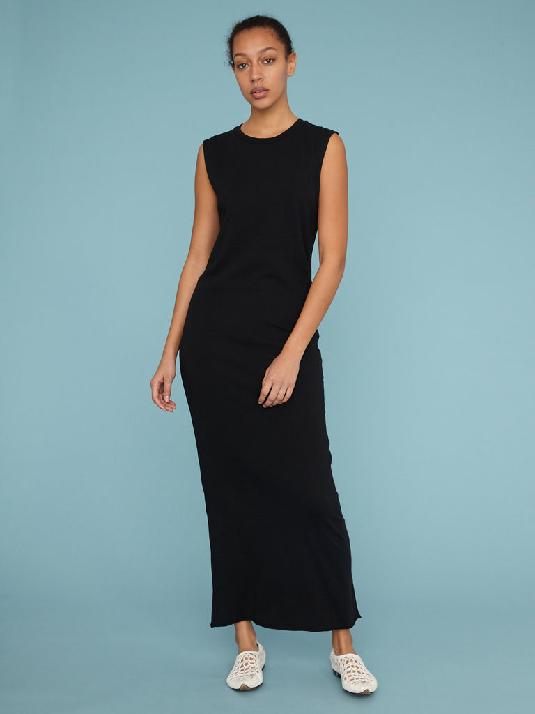 Black Jersey Muscle Maxi Dress
