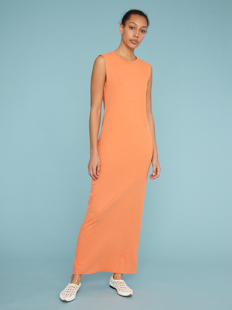 Orange Jersey Muscle Maxi Dress