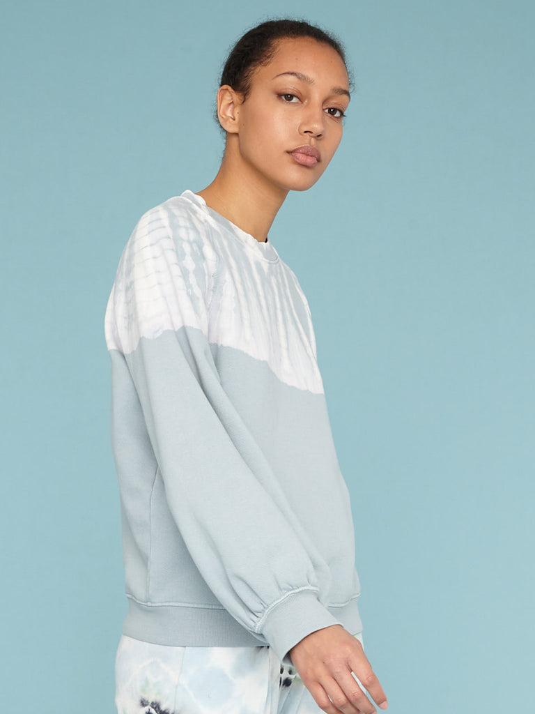 Dusty Blue Balloon Sleeve Sweatshirt
