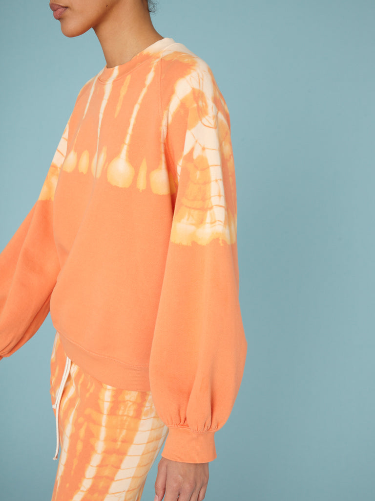 Orange  Balloon Sleeve Sweatshirt