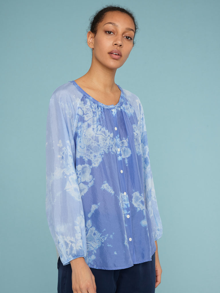 Blue Skies Andromeda Silk Poet Combo Top
