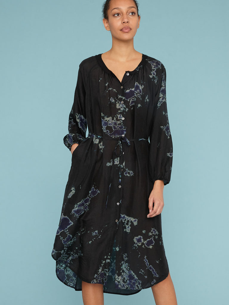 Black Sky Andromeda Silk Poet Combo Dress