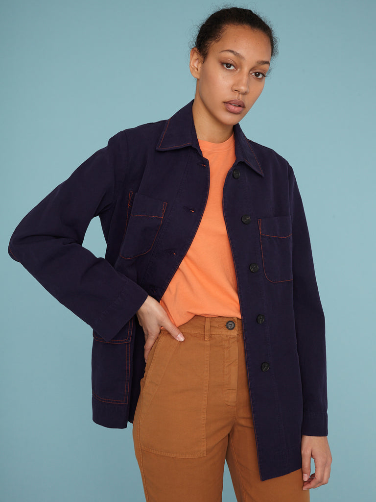 New Blue Vintage Canvas Officers Jacket