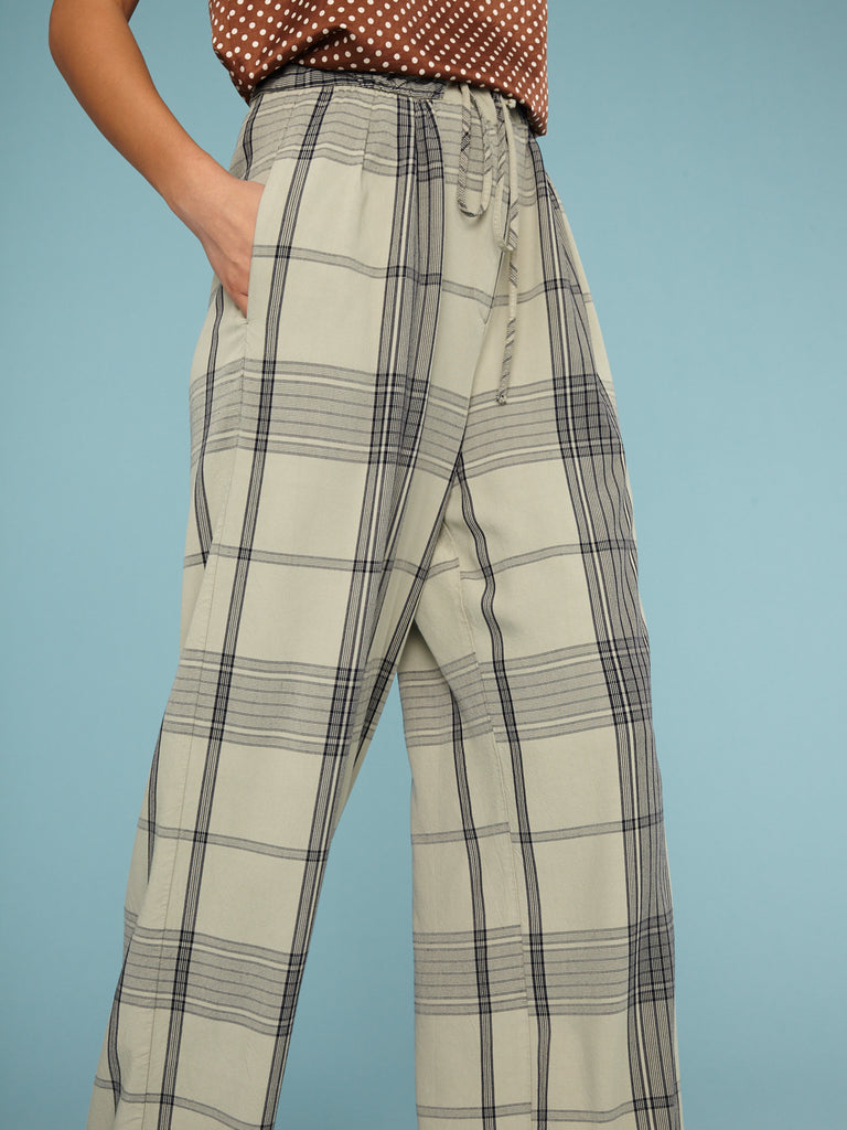 Mint Plaid Paperbag Trouser