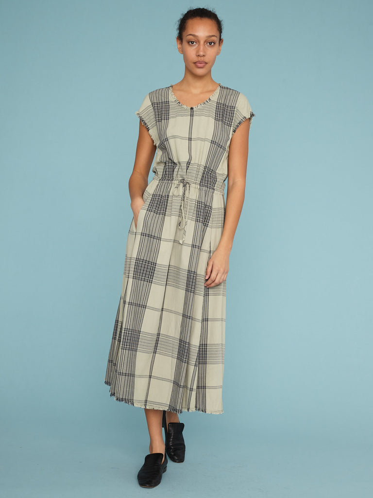 Mint Plaid Drawstring Dress