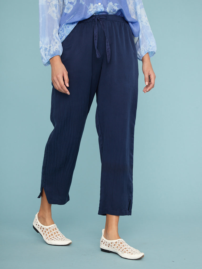 Navy Silk Sateen Drawstring Trouser