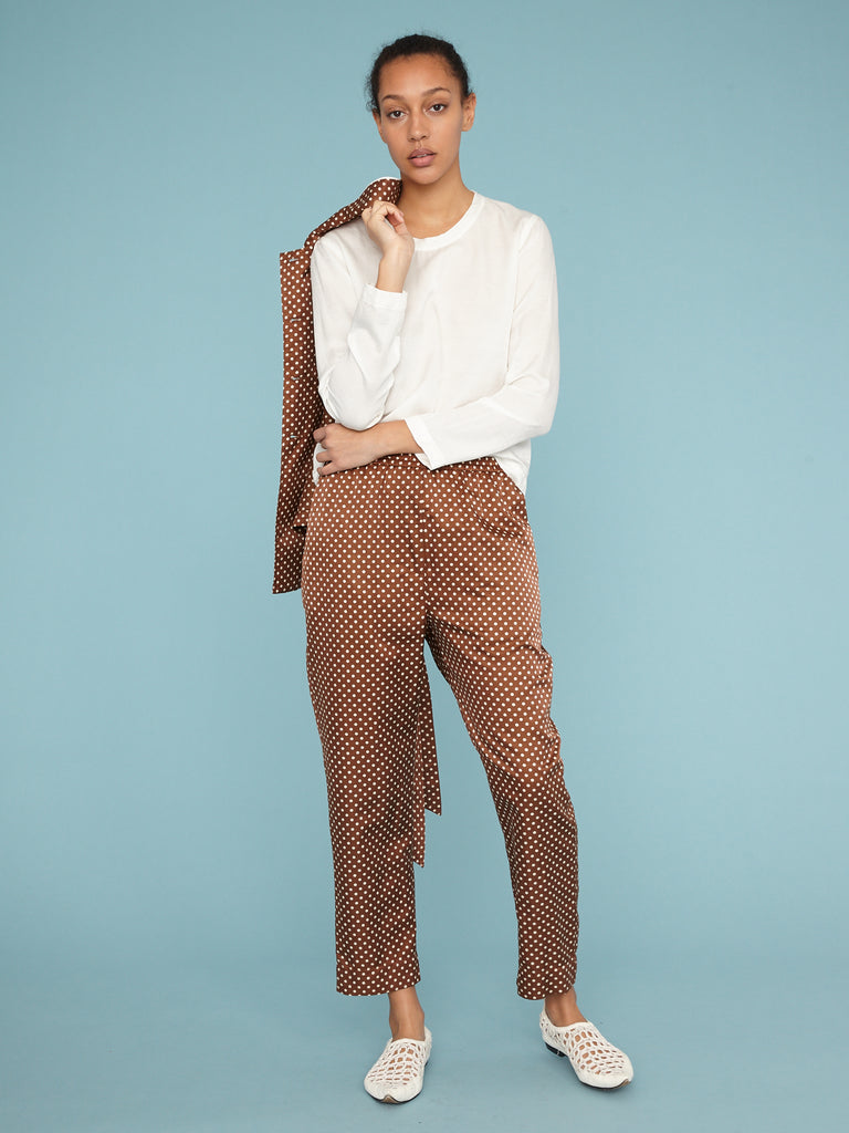 Brown Sand Satin Polka Dot Ankle Pant