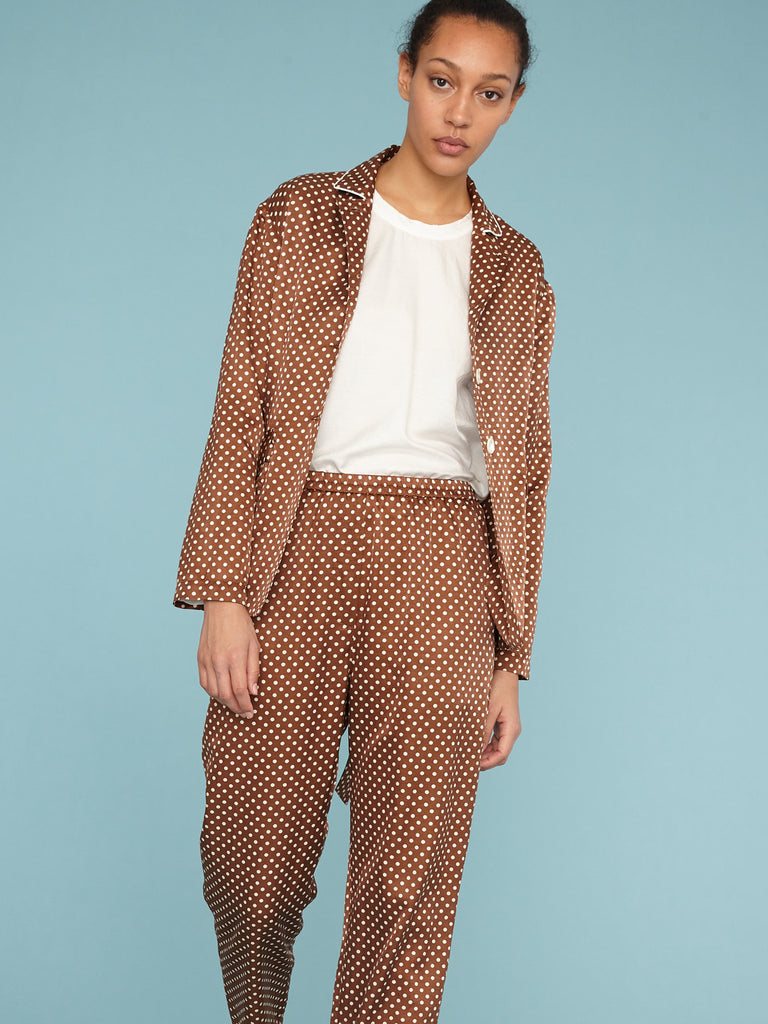 Brown Sand Satin Polka Dot Relaxed Blazer