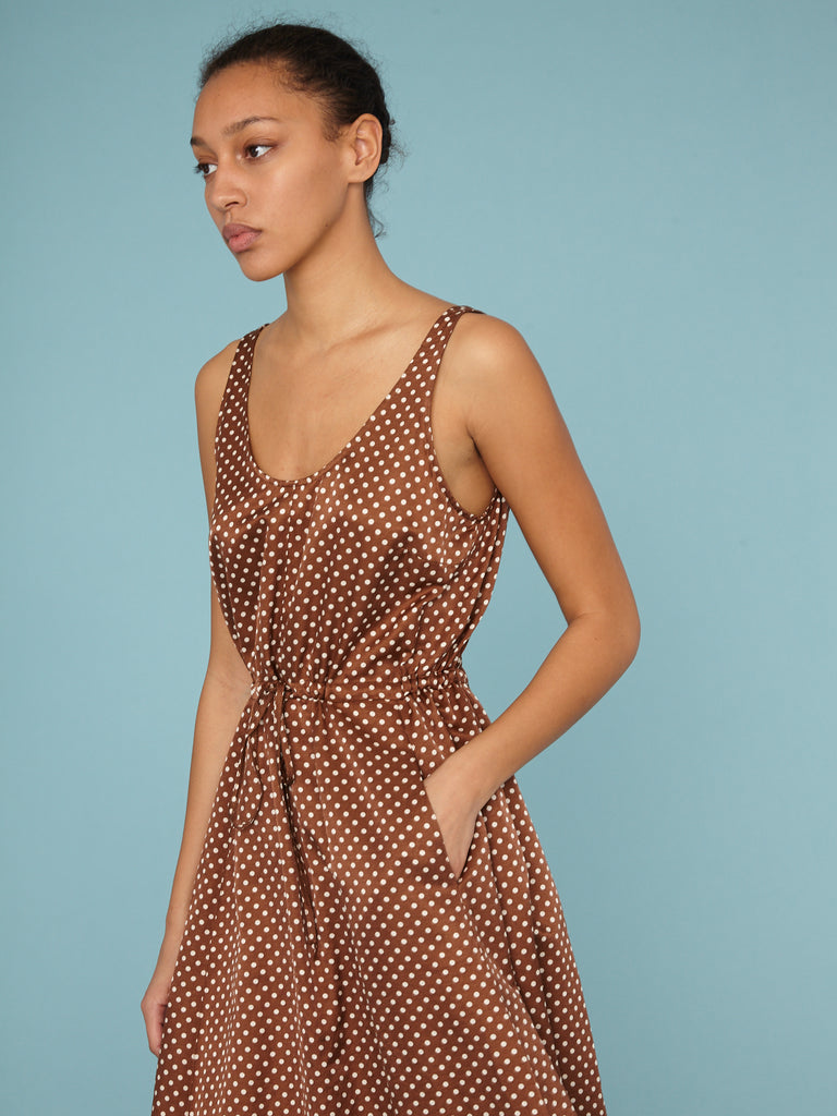 Brown Sand Satin Polka Dot Tank Drawstring Dress
