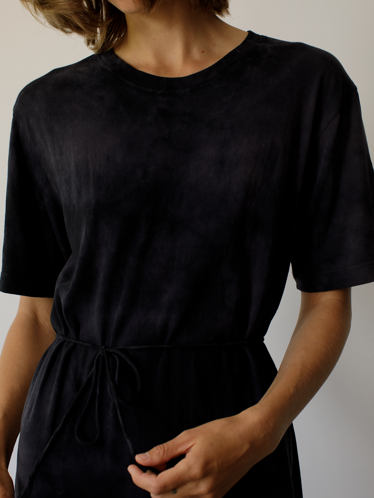 Black Jersey Belted Tie Dress