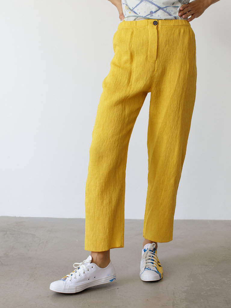 Golden Yellow Fortuny Pleats Cropped Pant