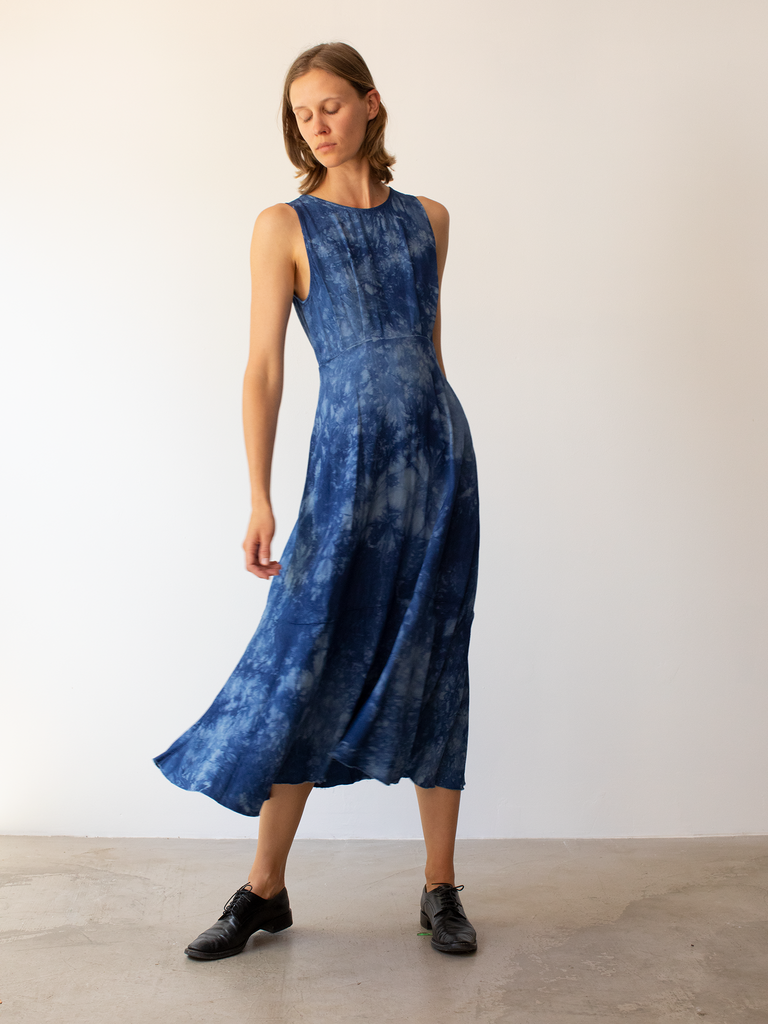 Blue Tie Dye Ripple Satin Frida Dress