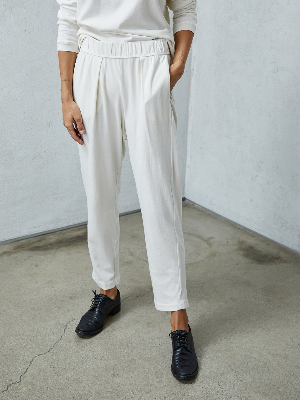Dirty White Jersey Easy Pant