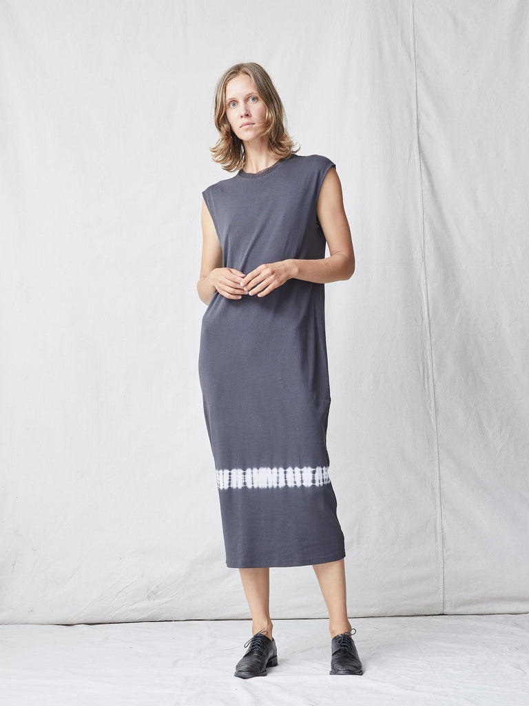 Charcoal Cotton Medley Column Dress
