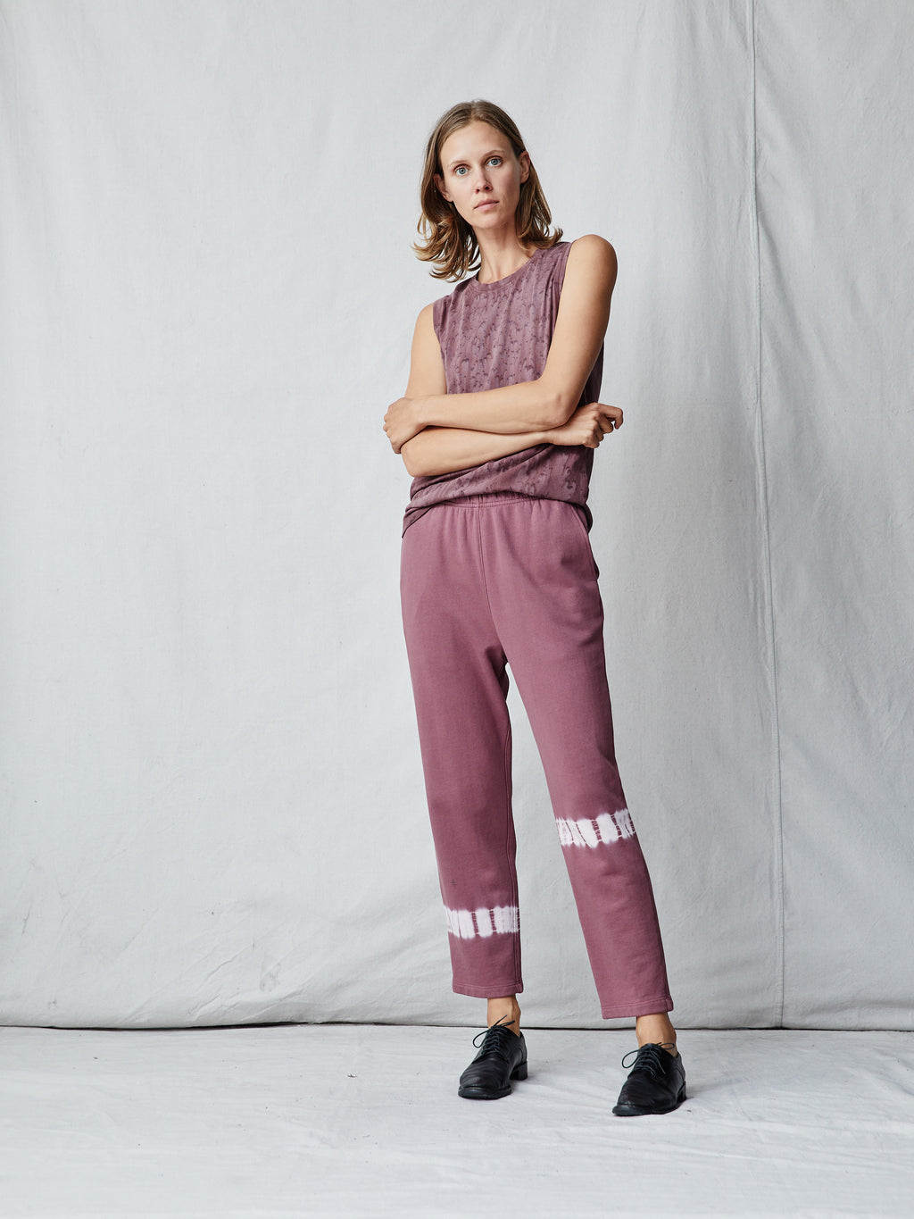 Dark Blush Cotton Ankle Pant