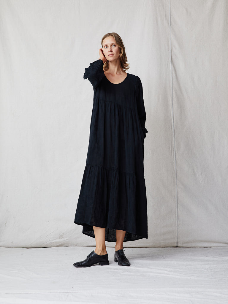 Black Gauze Medley Empress Dress