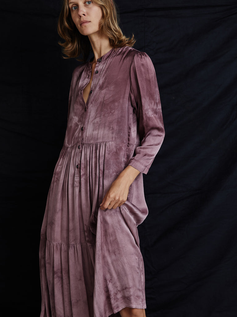 Dark Blush Matte Satin Tie Dye Twila Dress