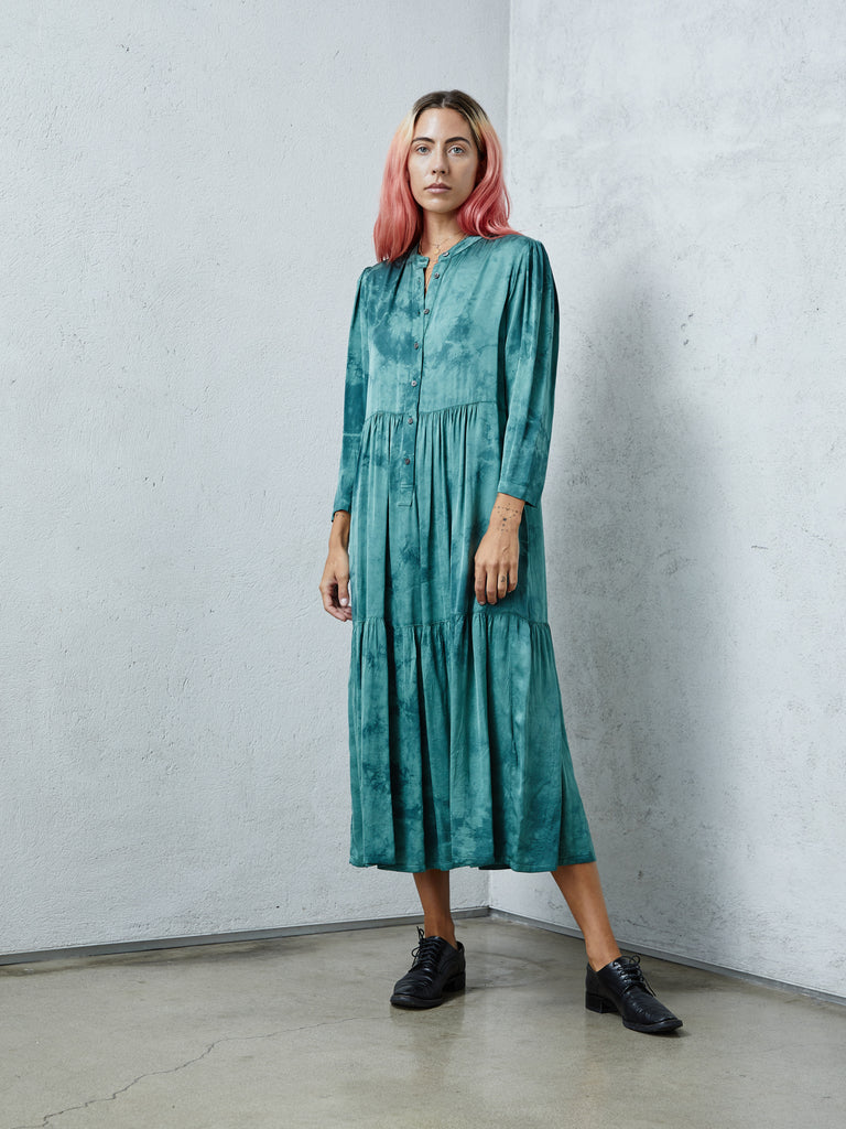 Teal Matte Satin Tie Dye Twila Dress