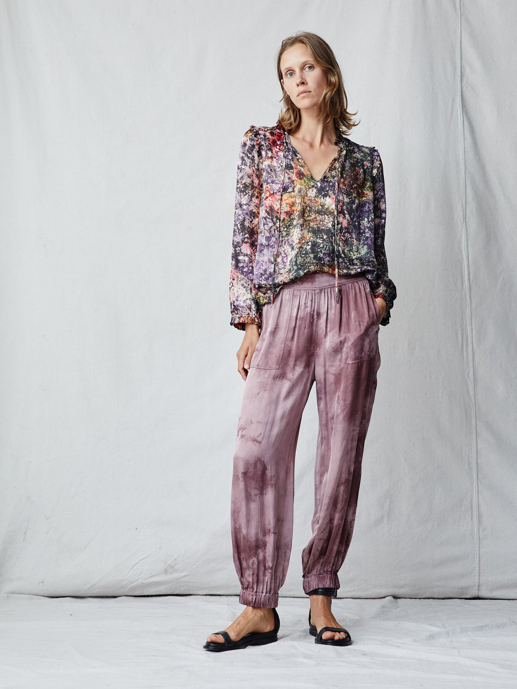 Dark Blush Satin Tie Dye Balloon Pants