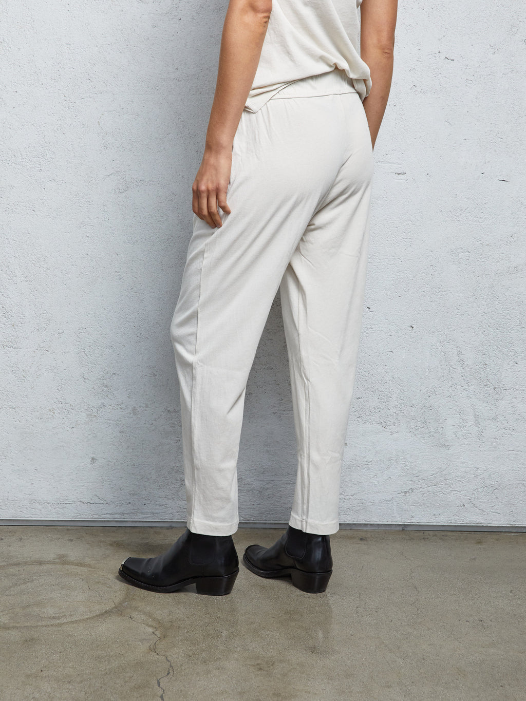 Washed White Jersey  Easy Pant