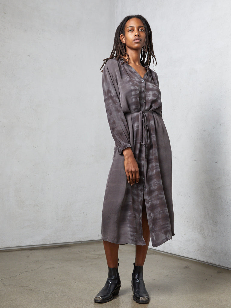 Slate Silk Tie Dye Wrap Maxi Dress