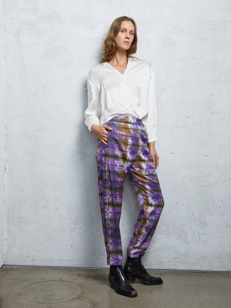 Plaid Silk Cotton Sateen Front Flat Pant