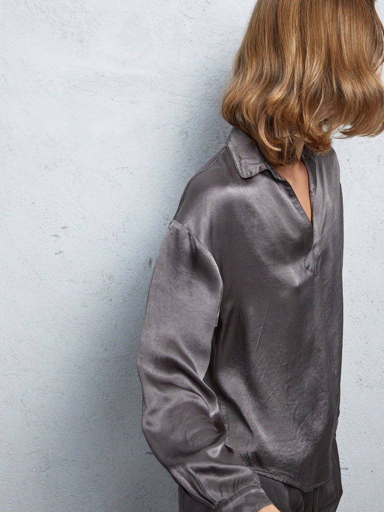 Dark Moss Pebble Satin Long Sleeve Pop Over