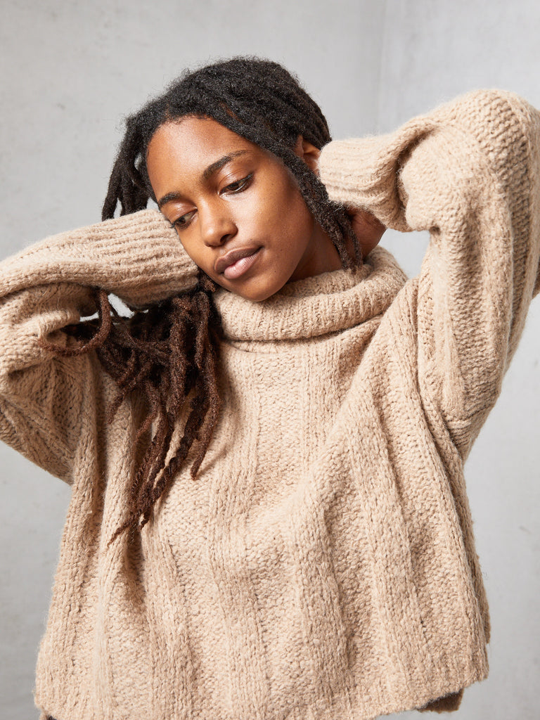 Camel Rib Cropped Turtleneck