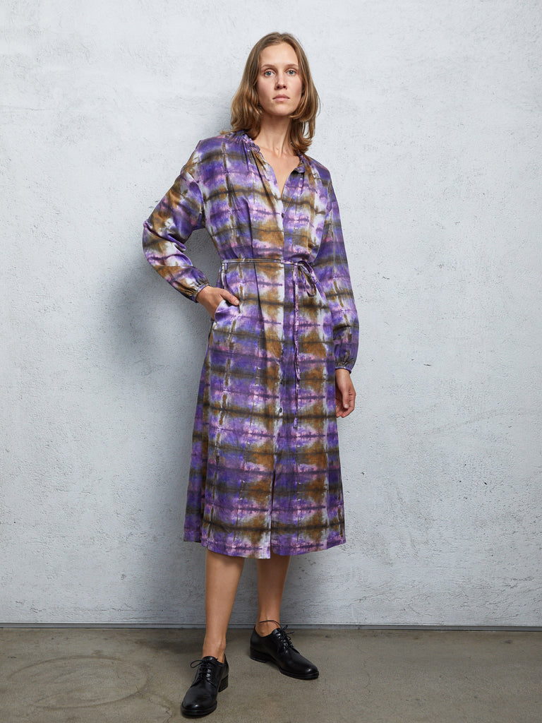 Plaid Print Silk Cotton Sateen  Wrap Dress