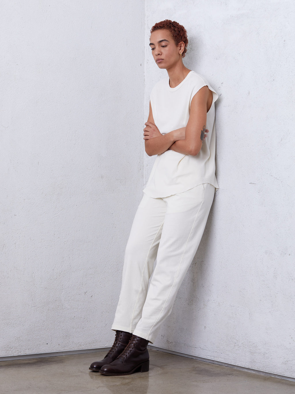 Dirty White Cotton Medley Ankle Pant