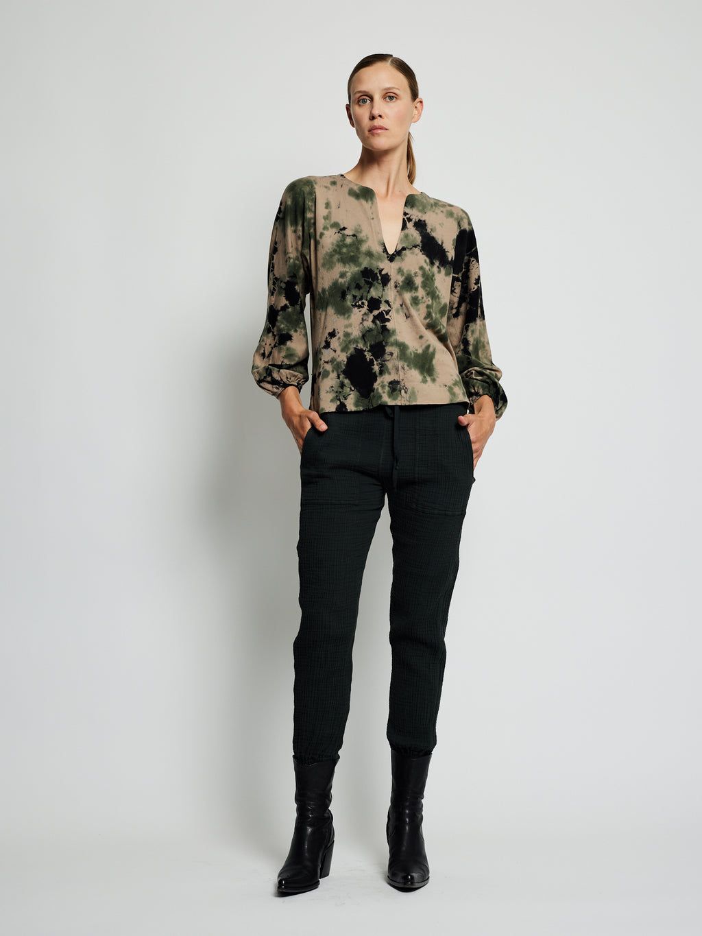 Army Calico Jersey Getty Blouse