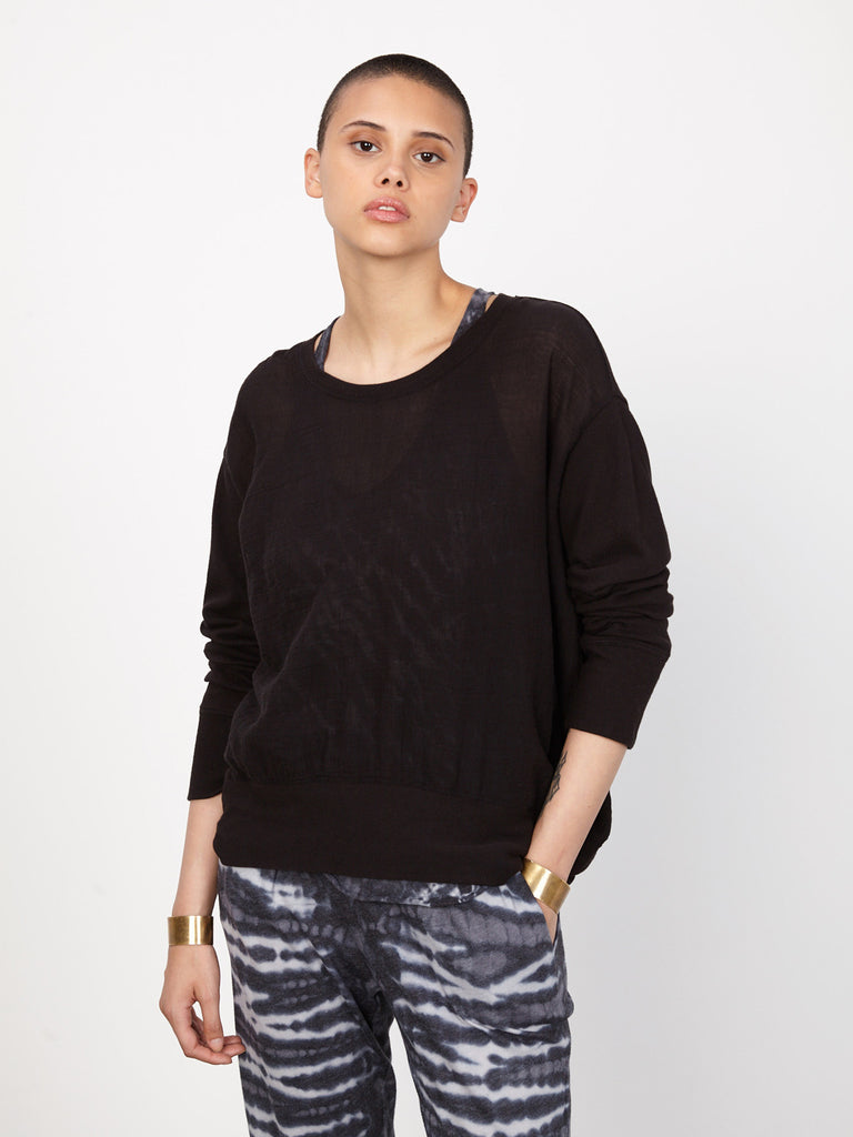Black Gauze and Jersey Sweatshirt