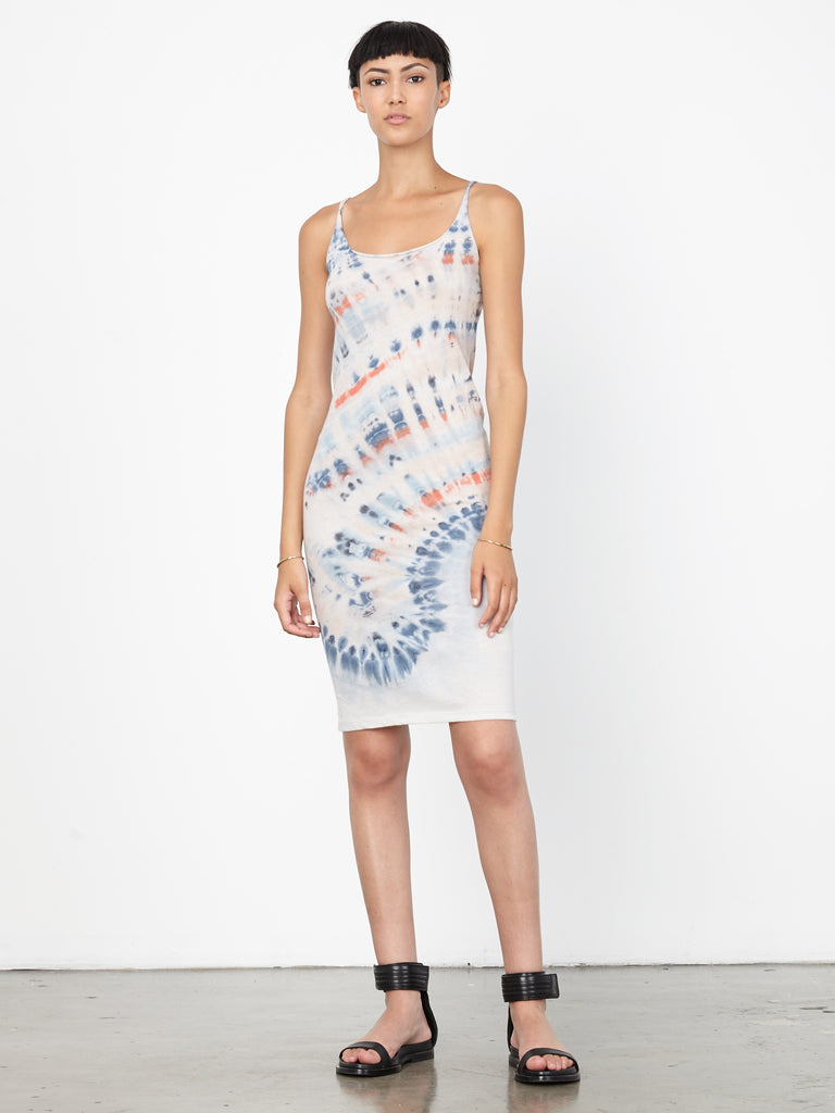 Red Blue Tie Dye Jersey Layering Tank Dress
