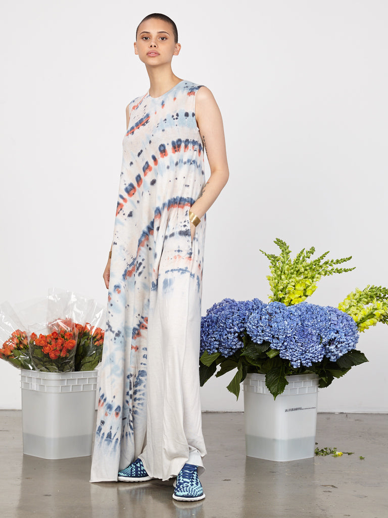 Red Blue Tie Dye Jersey Sleeveless Drama Maxi Dress