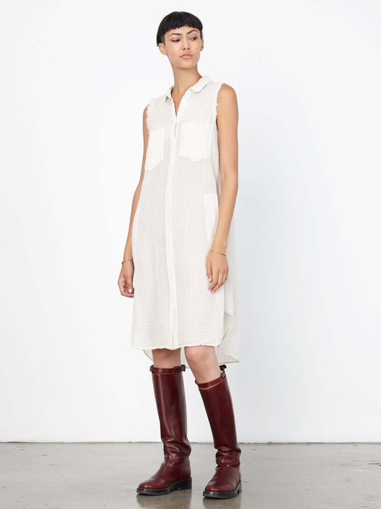 Cream Gauze Sleeveless Dress