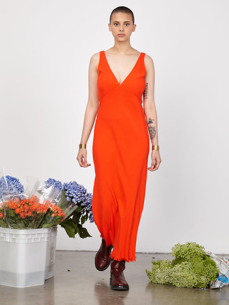 Persimmon Crepe Tulip Dress