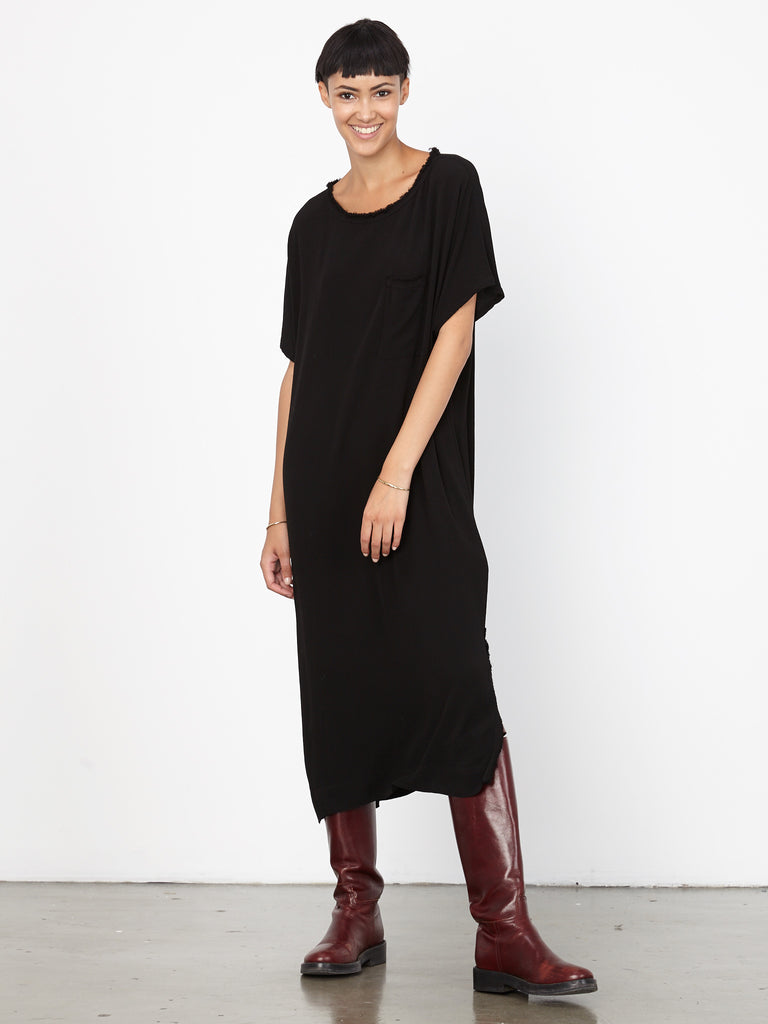 Black Crepe Pocket Tee Dress