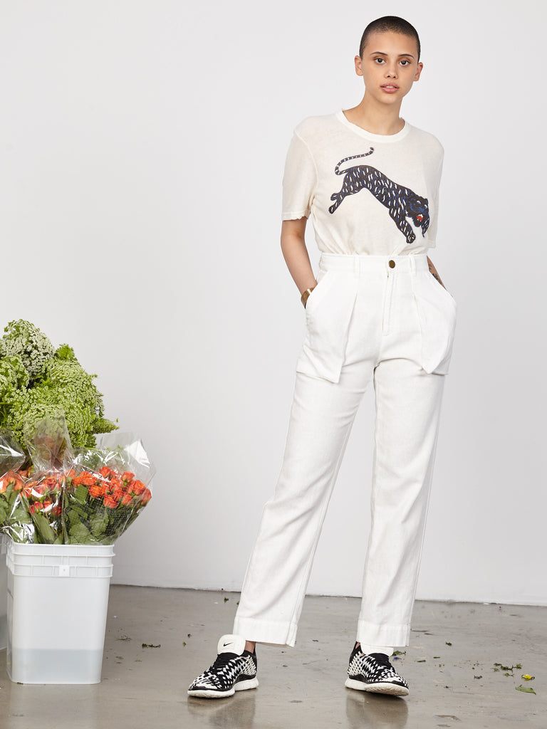 White Raw Cotton Pocket Pant