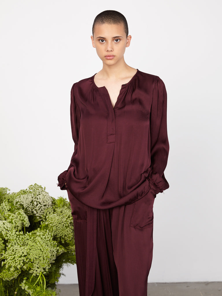 Plum Liquid Satin Poet Blouse