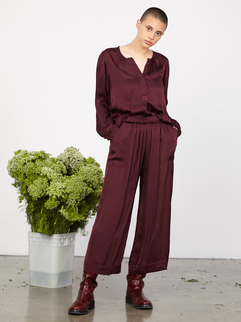 Plum Liquid Satin Wide Leg Pant