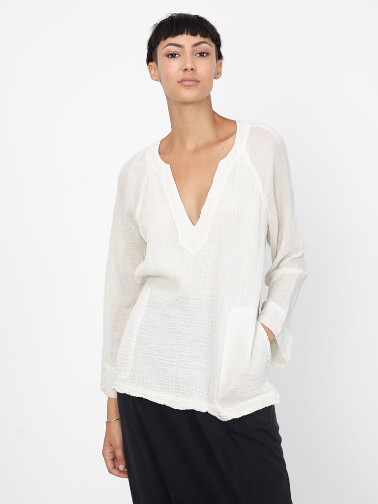 Dirty White Gauze Beach V-Neck Top