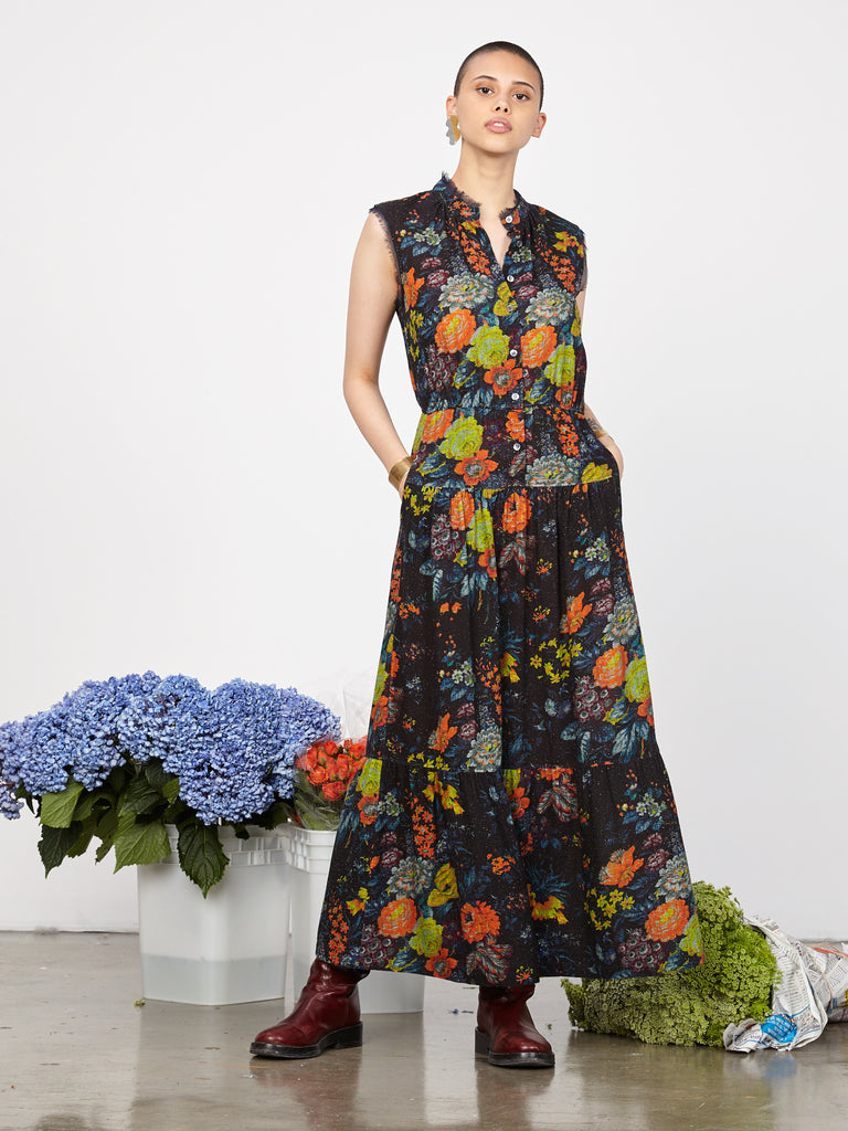 Orange Blue Floral Silk Noil Mesh Prairie Maxi Dress